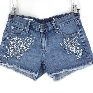 Gap hand stitched flower needlepoint shorts petite